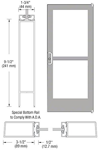 CRL-U.S. Aluminum Clear Anodized Single Door 36'' x 84'' 400 Medium Stile Latch on Left Offset Pivot With Panic Exit Device for Surface Mount Closer