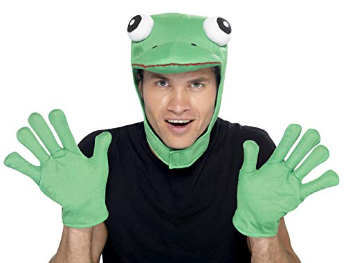 Smiffys Men's Frog Kit, Hood and Gloves, One Size, Colour: Green, 22164 ()