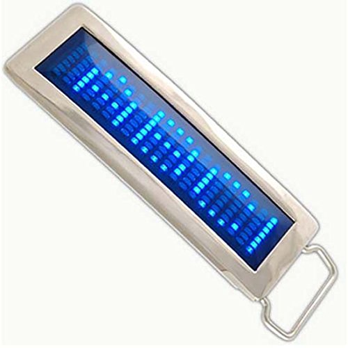 (iKKEGOL Programmable Blue DIY Text Name Flash LED Chrome Scrolling Belt Buckle Disc Party Gift (Blue))