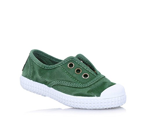 Cienta - Green Shoe Em Tecido, Feito Na Espanha, Na Frente, Uma Inserção Elástica, Buracos Botão De Ouro, Jovem