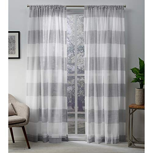Exclusive Home Curtains Darma Sheer Linen Rod Pocket Curtain Panel Pair, 50x96, Dove Grey, 2 Piece (Grey & White Curtains)