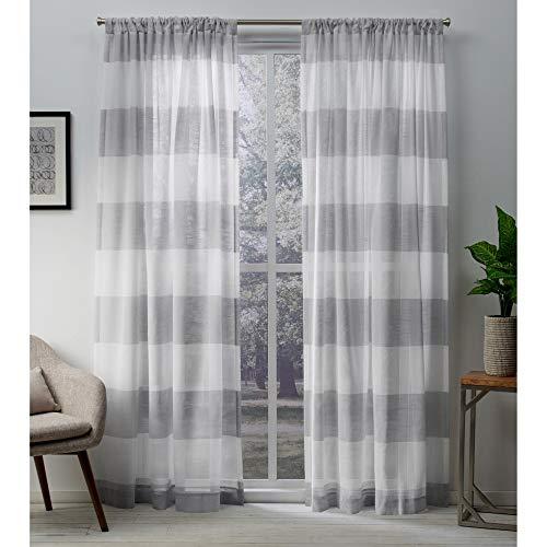 Exclusive Home Curtains Darma Sheer Linen Rod Pocket Curtain Panel Pair, 50x84, Dove Grey, 2 Piece (Horizontal Window Curtain)