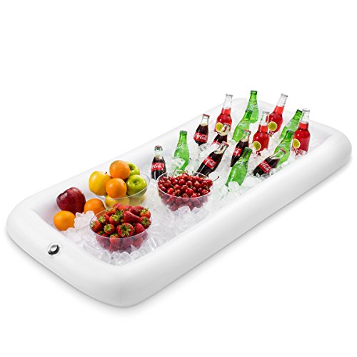 premium Inflatable Salad Bar Tray With New Innovative Valve for EASY Inflation - Deflation By Outdoorwares Food & Drink Holder For Picnics, Barbeques & Parties - 52