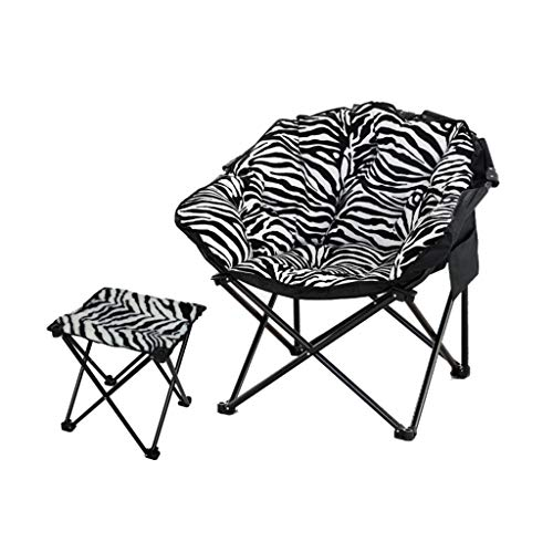 (Chair Large Adult Moon Chair Sun Lounger Lazy Chair Recliner Folding Chair Round Chair (Color : Zebra))