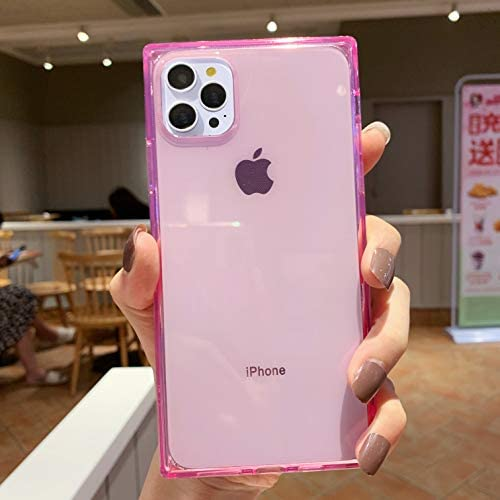 Tzomsze Square Case for iPhone 12 Pro Max 6.7 Inch,Clear Transparent Case Reinforced Corners TPU Cushion Slim Bumper Cover Shock Absorption TPU Silicone Cases 2020 -Pink