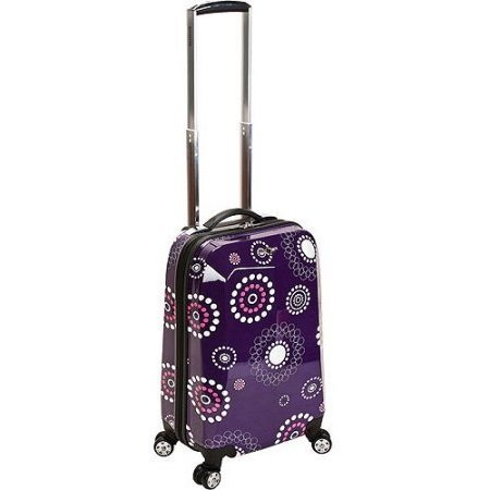 Girls Dark Purple Pink White Floral Dots Theme Carry Luggage Hardtop Hardside Roller Wheel Set, Girls Flower Polka Dot Themed Suitcase Rolling Upright Spinner Wheels (White Dot Rolling Polka Luggage)