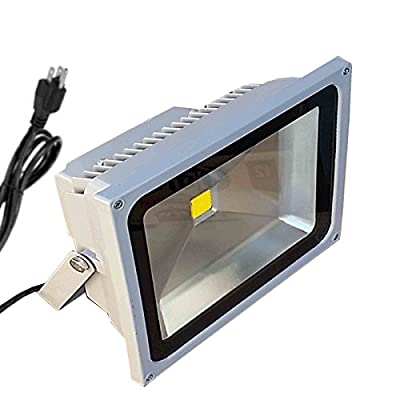 TDLTEK 50W LED Waterpoof Outdoor Security Floodlight 100-240VAC, With Plug, Warm White
