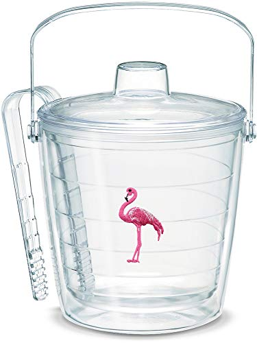 - Tervis 1053193 Flamingo Insulated Tongs with Emblem Lid-Boxed, 87oz Ice Bucket, Clear