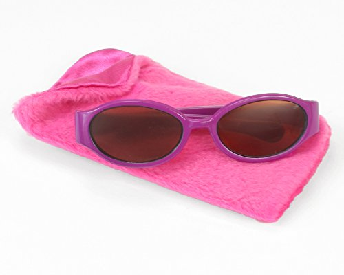 18 Inch Doll Sunglasses & Case 2 Pc. Set, Fits 18 Inch American Girl Dolls & More! by Sophia's, Hot Pink Furry Doll Eyeglass Case & - With Baby Sunglasses