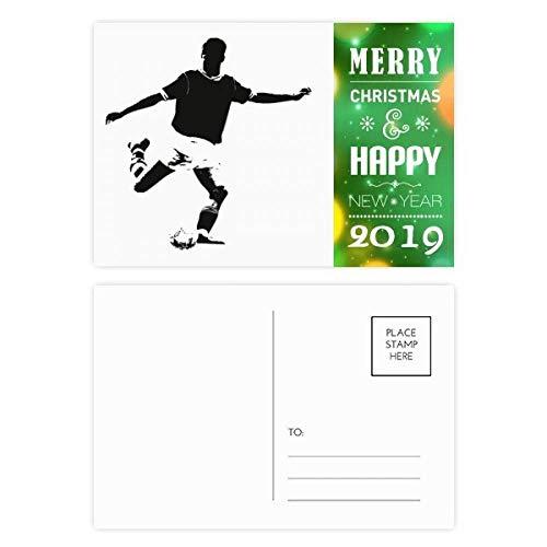 Tarjeta postal de agradecimiento de año nuevo 2019 con balón de fútbol de educación física, 20 unidades