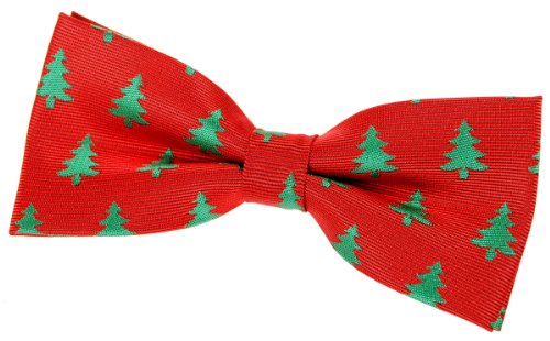 Retreez Christmas Tree Pattern Woven Pre-tied Bow Tie - Red, Christmas Gift