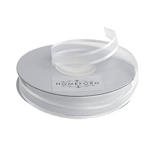 (Homeford FCR000SES0308029 Satin-Edge Sheer Organza Ribbon, 3/8-Inch, White)