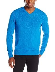 Lucky Brand Men's White Label V-Neck Sweater, Cobalt, X-Large
