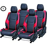 KHUSHAL Leatherite Car SeatCover for Renault Kwid Front and Back Seat Covers Set KS010RKWID(Red)