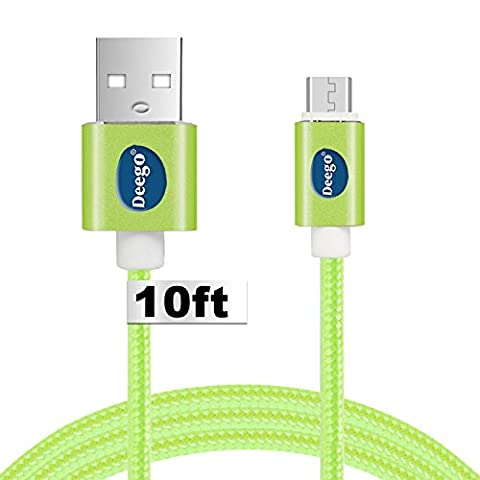 Android charger cable 10 ft, Extra long Nylon usb 2.0 charging cable cord, portable micro usb fast charge cable for samsung galaxy S7/S6/S5 Edge,HTC M8 M9,Nexus and (Fast Charger Kindle Fire)
