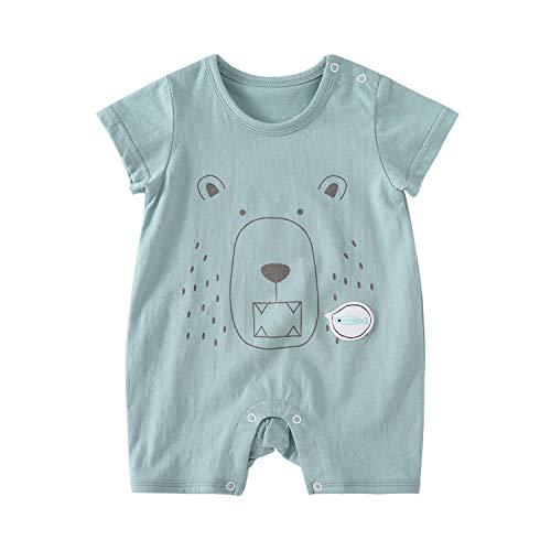 - pureborn Infant Baby Girl Romper Baby Boy Summer Cotton Cartoon Clothes Onesie Green Bear 3-6 Months