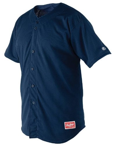 Rawlings Men's Full Button RBJ167 Jersey , Navy, X-Large
