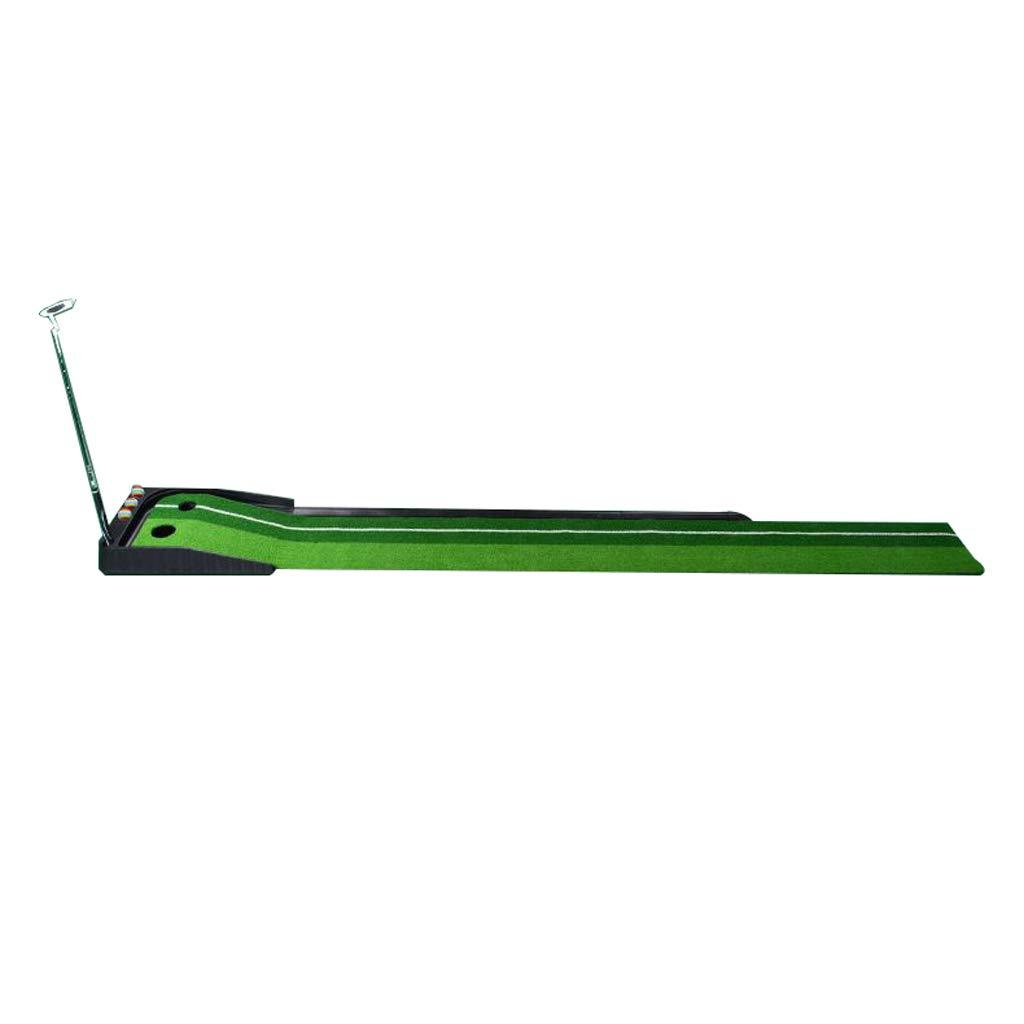 ゴルフマット、ダブルホール設計、シミュレーショントラック+パット、室内と屋外、250 * 30センチメートルの2色の草パタートレーナー