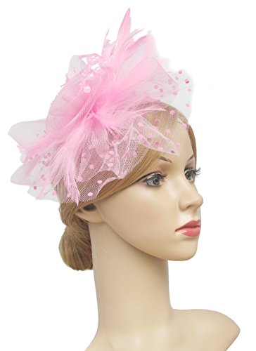 UPC 707427339521, Flower Cocktail Tea Party Headwear Feather Fascinators Top Hat for Girls and Women (Pink)