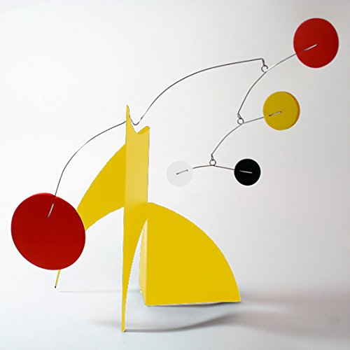 The Moderne Art Stabile in Yellow & Red - a mobile you display on desktop, coffee table, or shelf - Inspired by Alexander Calder - Eames Midcentury Modern Style by Atomic Mobiles