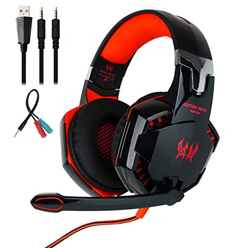 Mengshen Stereo Gaming Headset - with Mic, Volume Control and Cool LED Lights - Compatible with PC, Laptop, Smartphone, PS4 and Xbox One Controller, G2000 (Red)