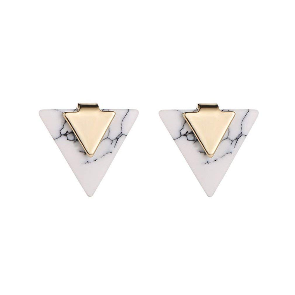 Yogatada Pendientes Triangulares de Turquesa Pendientes geom/étricos de m/ármol Triangular Simple Blanco