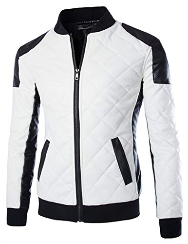 MR. R Men's PU Leather Colorblock Motorcycle Jacket White 5XL (Tag)