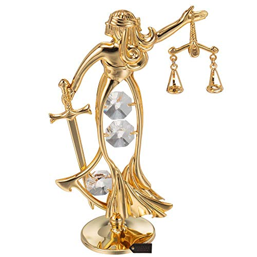 Matashi 24K Gold Plated Crystal Studded Lady of Justice Ornament