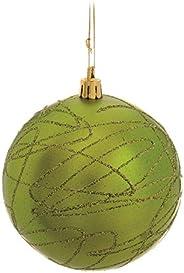Bola De Natal Com Rabiscos Em Glitter Verde Claro 8 Cm Jg Com 6 Unidades