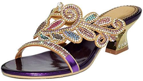 YooPrettyz Round Toe Leaf Patterned Leather Heeled Sandal Asymmetrical Slid Dress Low Heels Purple 7