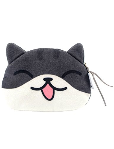 POPUCT Cartoon Cute Cat Face Bag Zipper Case Coin Money Purse Wallet (C)