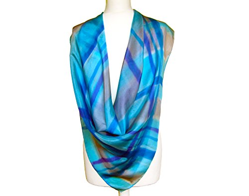 Womens blue shawl - Womens silk scarf - Abstract neck scarf - Silk square shawl - Silk painting scarf - Spring silk scarf - Mother gift