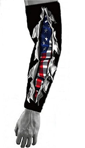 Nexxgen Sports Apparel Moisture Wicking Compression Arm Sleeve (Single) - Men, Women, Adult & Youth - 40 Colors – Digital Camo & Elite (Large, USA Flag Live or Die/Black) (Arm Elite)