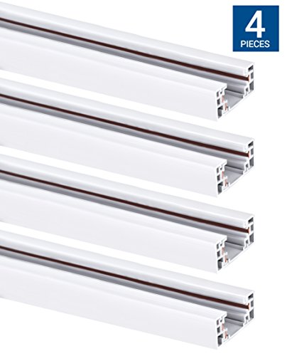 Hyperikon Track Lighting Section, 4ft H Track Rail, White Single Circuit 3-Wire Track Rail (Pack of - Rail Ceiling