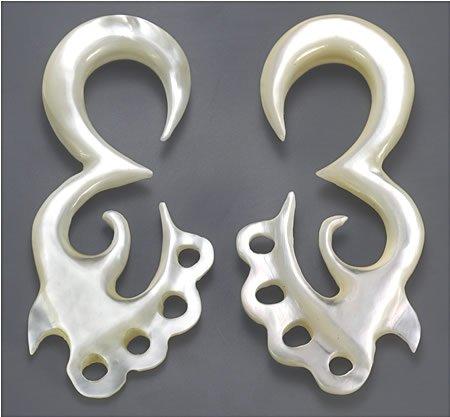 Elementals Organics Mother of Pearl ANJANEYA Intricate Hanger Organic Jewelry - 2mm-8mm - Price Per 1-6mm ~ - Jewelry Intricate Hanger Organic
