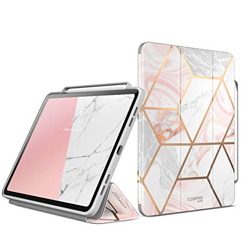 (i-Blason Case for New iPad Pro 11 Inch Case 2018 Release, [Cosmo] Full-Body Trifold Stand Protective Case Cover with Auto Sleep/Wake & Pencil Holde, Marble, 11