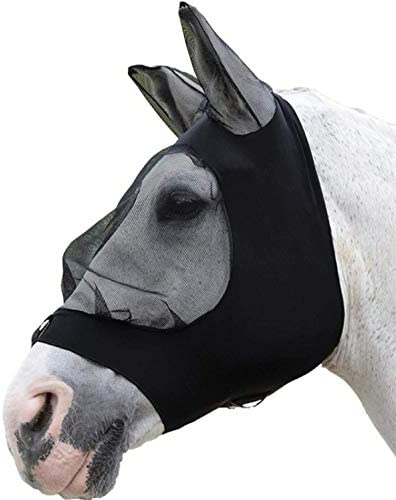 KMOOL Horse Fly Mask Face Mesh with Bug Eyes Ears Stretch Full Size Horse Fly Mask Protection from Insect Bites//UV
