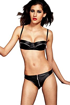 EDENKISS Women's Sexy Costume Lingerie G-string Club Dancing Patent Leather Sets