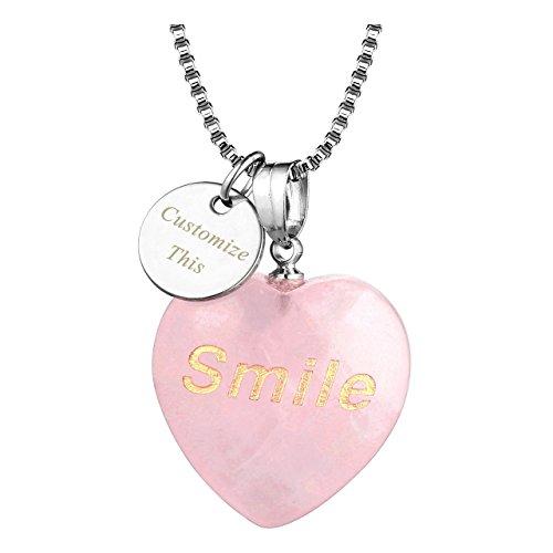Top Plaza Personalized Custom Necklace Name Words Engraving Heart Shape Rose Quartz Chakra Crystal Healing Stone Pendant(Engraved-Smile)