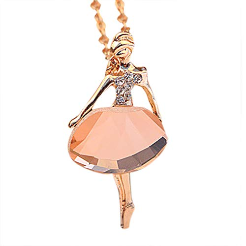 (Thenxin Ballet Dancer Pendant Necklace Lively Ballerina Necklace for Girls Women (Pink))