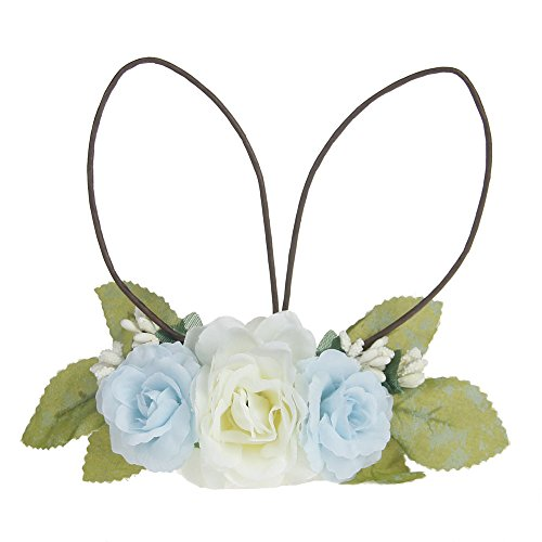 - DreamLily Baby Girls Flower Crown Spring Bunny Headband Woodland Floral Head Piece for Toddler BB14 (Blue)