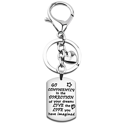 Gzrlyf Graduation Keychain Go Confidently In The Direction Of Your Dreams Keychain Inspirational Gift - Gift College For Ideas Graduate