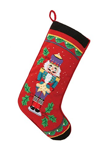(PHI Nutcracker with Star on Red Christmas Stocking, Wool & Velvet Needlepoint, 11 Inch X 18 Inch)