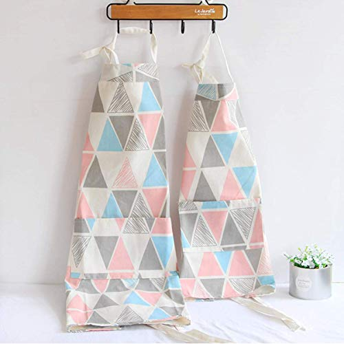 2 Pack Cotton Blend Parent and Child Apron, Creative and Anti-fouling Artist Apron Apron with Pockets Great Helper in Daily Life, Matching for Adult and Kid Cooking,Baking,Painting, Gardening(Pink) -