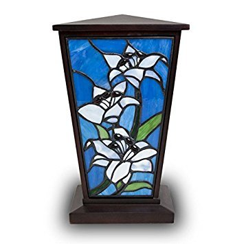 Lily Stained Glass Memorial Urn for Adults - Large - Holds Up to 200 Cubic Inches of Ashes - White Cremation Urn for Ashes - Engraving Sold Separately