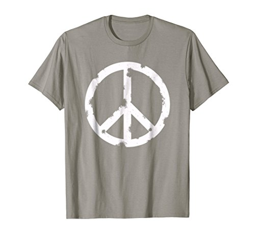 Distressed Hippie Peace Sign T-shirt Cool Vintage Hippy Tee ()