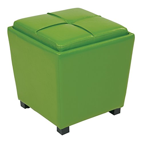 Office Star Metro Vinyl 2-Piece Storage Ottoman Nesting Cube Set with Dark Espresso Finished Feet, Green