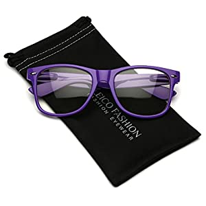 Iconic Square Horn Rimmed Clear Lens Retro Glasses (Purple, 52)