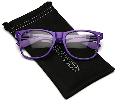 Iconic Square Horn Rimmed Clear Lens Retro Glasses (Purple, - Glasses Nerd Purple