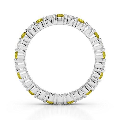 Or blanc 18carats 1/2ct G-H/VS sertie de diamants ronds Cut Saphir Jaune et éternité Bague Agdr-1111